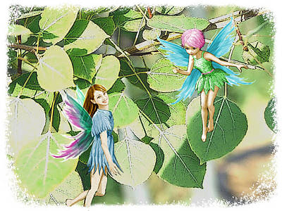 Tree Fairies Among The Quaking Aspen Leaves Art Print