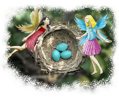 Digital Art - Tree Fairies At The Robin Nest by Yuichi Tanabe