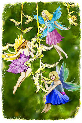 Digital Art - Tree Fairies On The Weeping Willow by Yuichi Tanabe