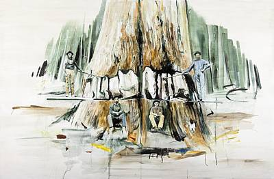 Forestry Painting - Tree Felling by Calum McClure