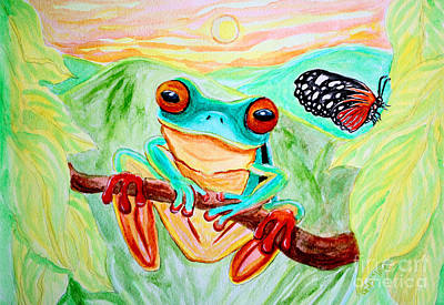 Tree Frog And Butterfly Art Print by Nick Gustafson