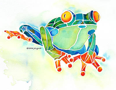 Amphibians Painting - Tree Frog In Greens by Jo Lynch