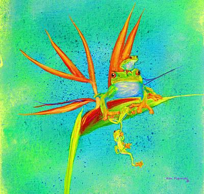 Tree Frog On Birds Of Paradise Square Art Print