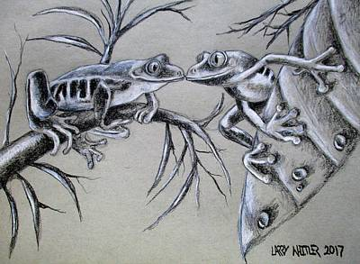 Drawing - Tree Frog Romance by Larry Whitler