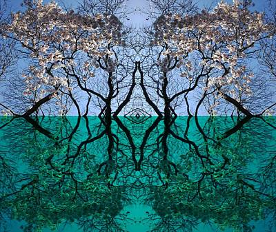 Mixed Media - Tree Gate Between Water And Sky Worlds by Julia Woodman