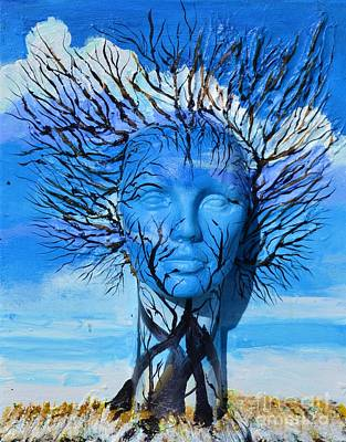 Mixed Media - Tree Head Winter by P Dwain Morris