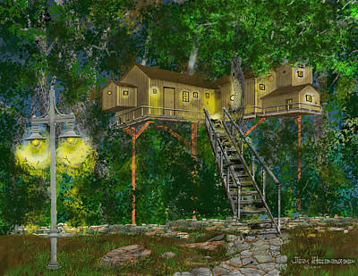 Drawing - Tree House #10 by Jim Hubbard