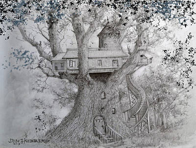 Drawing - Tree House #2 by Jim Hubbard