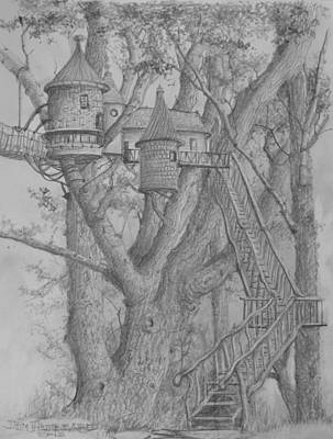 Drawing - Tree House #3 by Jim Hubbard