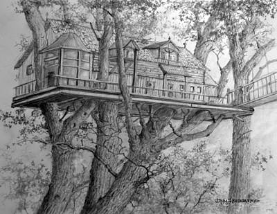 Drawing - Tree House #4 by Jim Hubbard