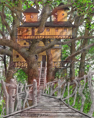 Drawing - Tree House #6 by Jim Hubbard