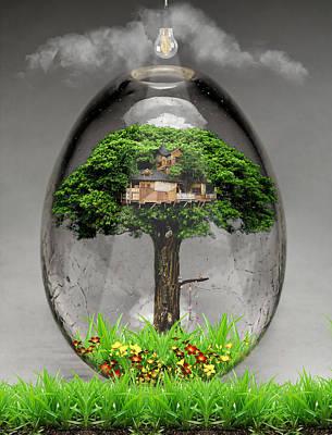 Fantasy Tree Mixed Media - Tree House Art by Marvin Blaine
