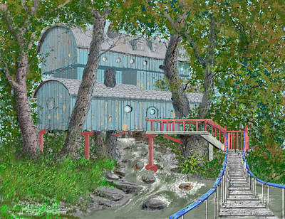Drawing - Tree House Digital Version by Jim Hubbard