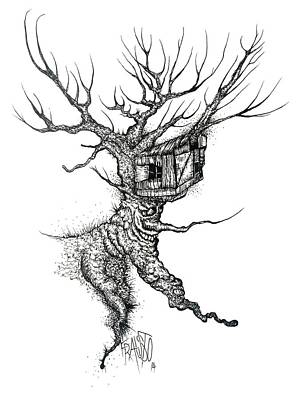 Drawing - Treehouse Drawing by Rick Frausto
