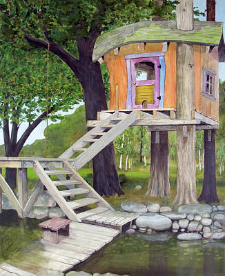 Tree House Pond Art Print by Will Lewis