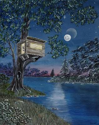 Stary Sky Painting - Treehouse On River by Rick Bennett