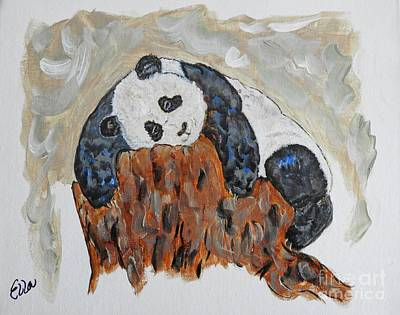 Painting - Tree Hugging Baby Panda Original Painting by Ella Kaye Dickey