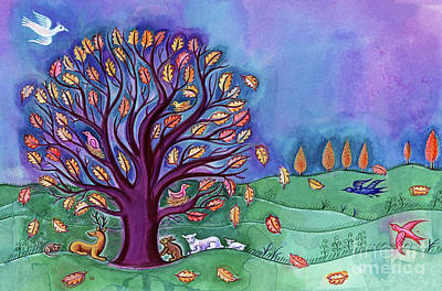 English Gouache Painting - Tree In Autumn by Jane Tattersfield