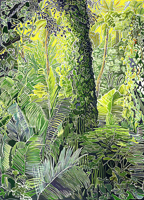 Frond Painting - Tree In Garden by Fay Biegun - Printscapes
