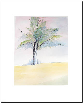Art Print featuring the painting Tree In Pastel Colors by Sibby S