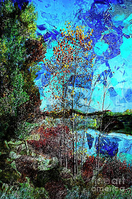 Digital Art - Tree Lake Grunch by Deborah Nakano