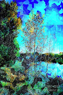 Digital Art - Tree Lake Grunge by Deborah Nakano
