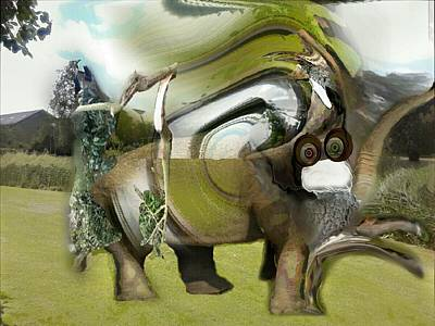 Stomp Digital Art - Tree Le Phant Artwork by Marco De Mooy