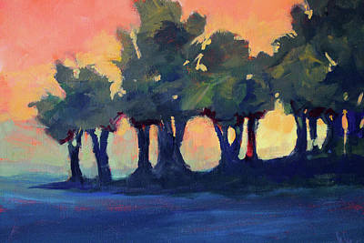 Painting - Tree Line Sunset by Nancy Merkle