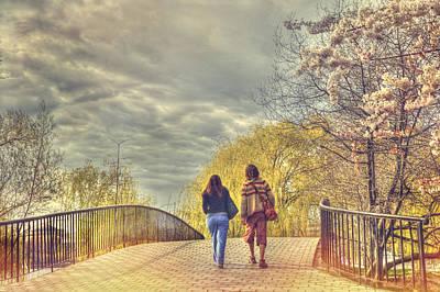 Charles River Photograph - Tree Lined Footbridge - Fairfield Street Bridge - Boston by Joann Vitali