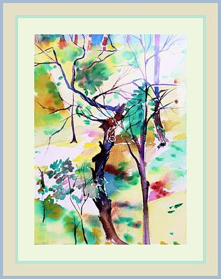 Art Print featuring the painting Tree Lovers by Mindy Newman