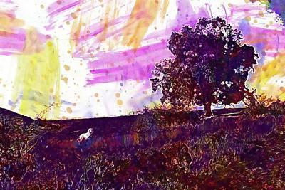 Digital Art - Tree Meadow Dog Animal Pet Green  by PixBreak Art