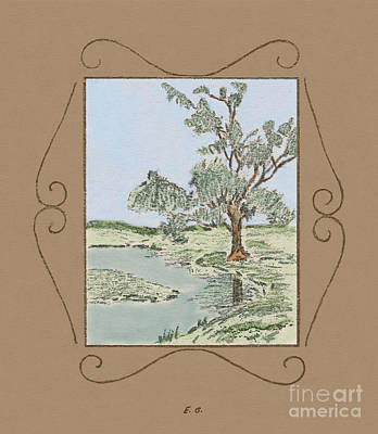 Drawing - Tree Mirror In Lake by Donna L Munro