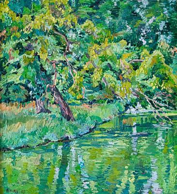 Tree Near A Pond In Lednice Castle Park Art Print by Vitali Komarov