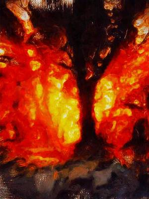 Fantasy Tree Painting - Tree Of Fire By Sarah Kirk by Sarah Kirk
