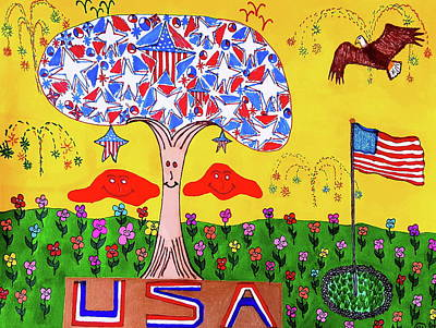 Abstract Design Drawing - Tree Of Freedom And Glory by Neal Alicakos