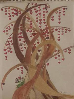Weeping Drawing - Tree Of Hearts by Cara Sullenger Carr