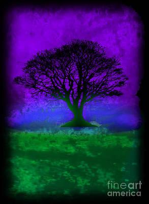 Pollack Mixed Media - Tree Of Life - Purple Sky by Robert R Splashy Art