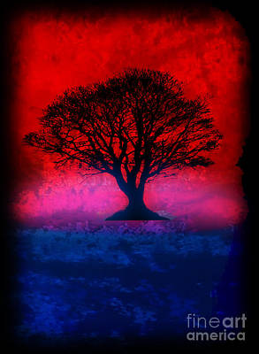 Tree Of Life - Red Sky Print by Robert R Splashy Art