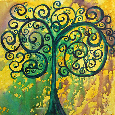 Painting - Tree Of Life - Yellow Green by Christy Freeman Stark