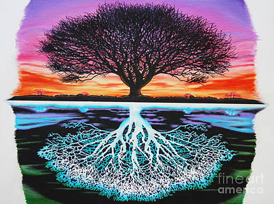 Tree Roots Drawing - Tree Of Life And Negative by Brian Schuster