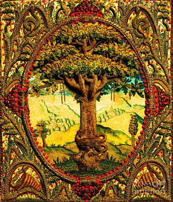 Tapestry - Textile - Tree Of Life Continental Tapestry With Snakes Snails And A Dragon by Unknown