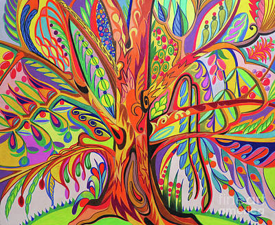 Flower Pink Fairy Child Drawing - Tree Of Life by David Roper