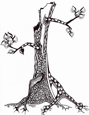 Dots And Lines Drawing - Tree Of Life by Dominique Engerran