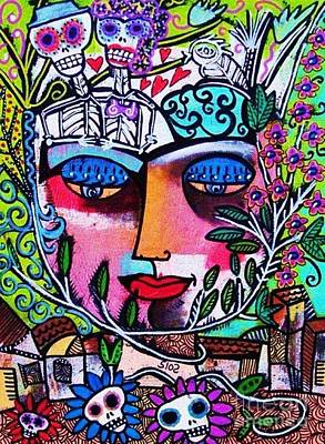 Tree Of Life Face Art Print by Sandra Silberzweig