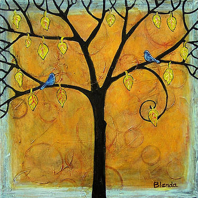 Bluebird Painting - Tree Of Life In Yellow by Blenda Studio