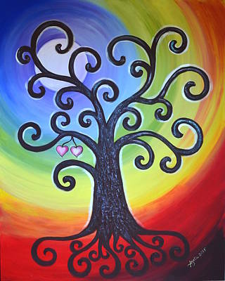 Art Print featuring the painting Tree Of Life Love And Togetherness by Agata Lindquist