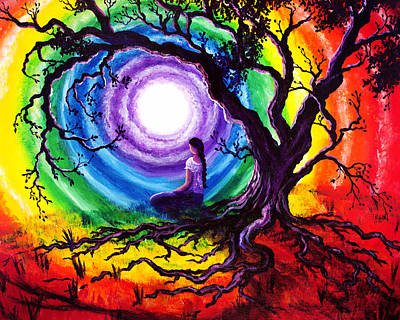Meditating Painting - Tree Of Life Meditation by Laura Iverson