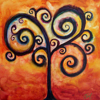 Tree Of Life Orange Art Print by Christy Freeman Stark