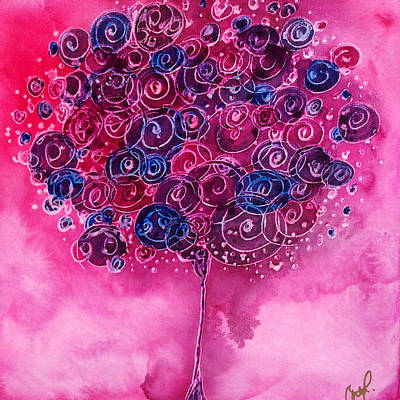 Painting - Tree Of Life Pink Swirl by Christy Freeman Stark