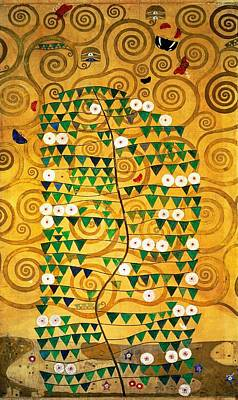 Tempera Painting - Tree Of Life Stoclet Frieze by Gustav Klimt